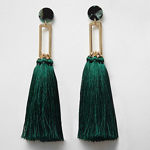 Dark green tassel drop earrings