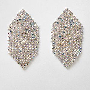 Pendants d'oreilles hexagone argentés avec strass