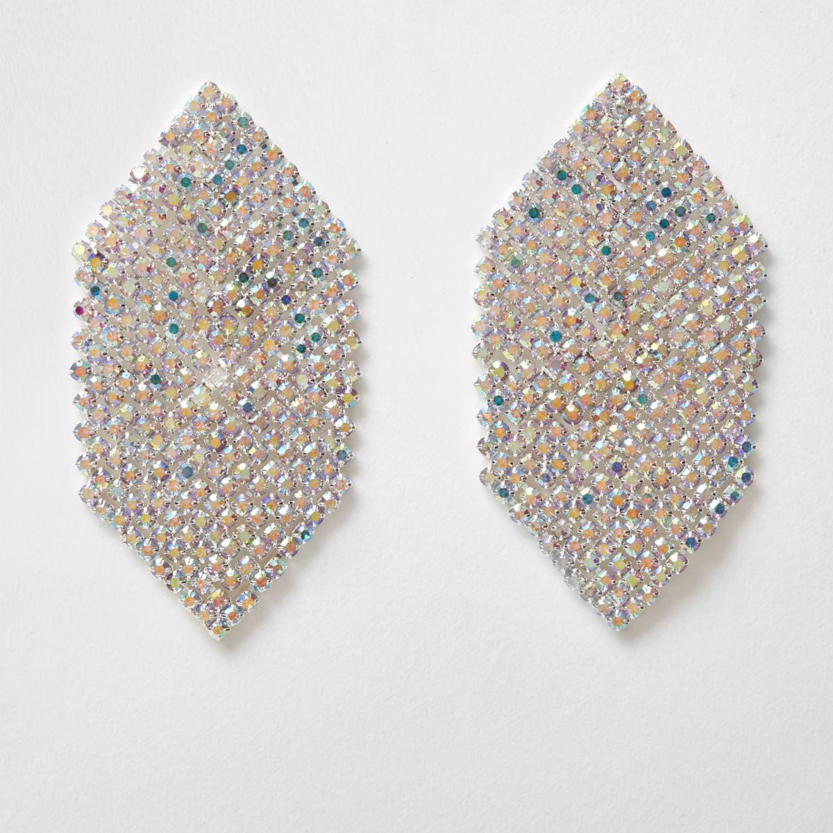 Silver tone diamante hexagon drop earrings