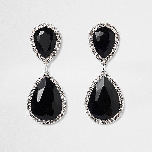 Black teardrop jewel drop earrings