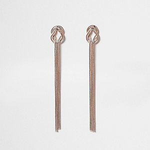 Rose gold tone snake chain knot drop earrings