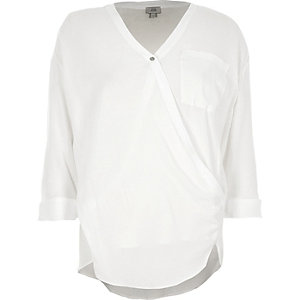 White V neck wrap blouse