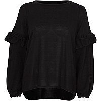 Black balloon frill sleeve knit top