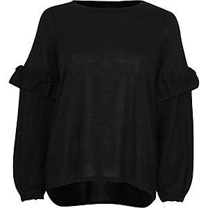 Black balloon frill sleeve knit top