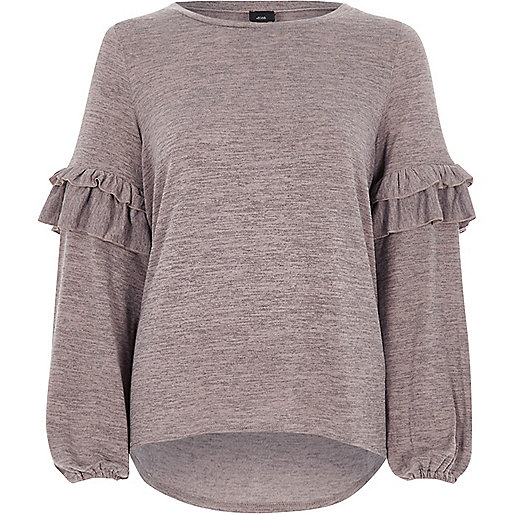 Light brown frill balloon sleeve knitted top