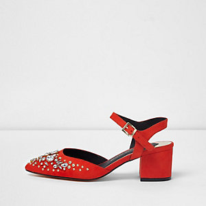 Red embellished pointed block heel shoes