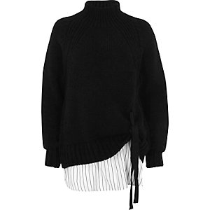 Black tie front high neck layered sweater