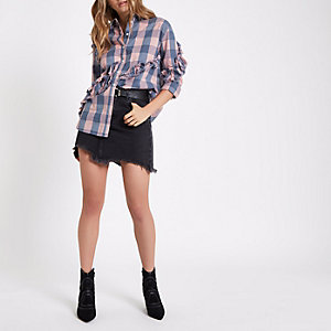 Light pink and blue check frayed trim shirt