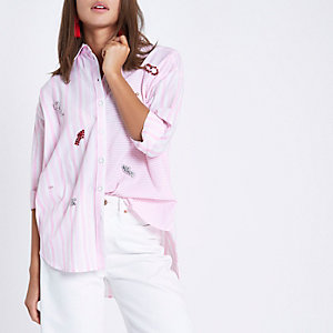 Pink mixed stripe jewel embellished shirt