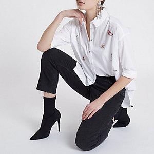White front jewel embellished shirt