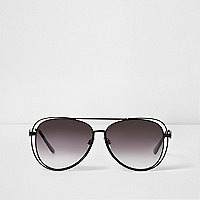 Black metal double rim aviator sunglasses