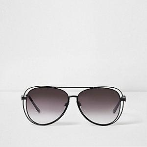Zwarte pilotenzonnebril met dubbele metalen rand