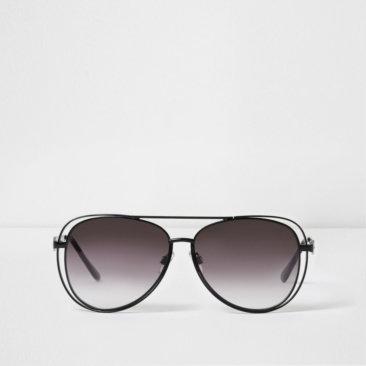 Black metal double rim aviator sunglasses