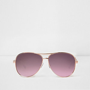 Rose gold tone tinted lenses aviator sunglass