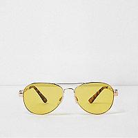 Gold tone yellow lens aviator sunglasses