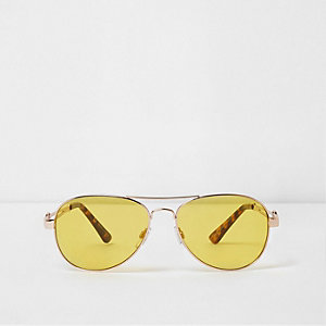 Gold tone yellow lens aviator sunglasses