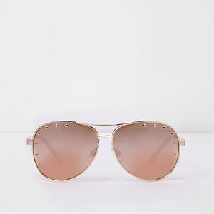Pink gold tone studded aviator sunglasses
