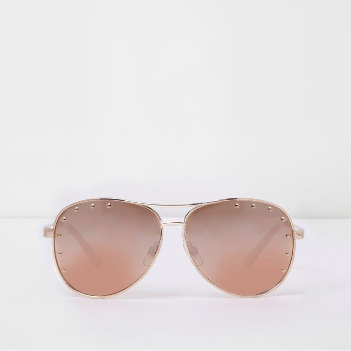 Pink gold tone studded aviator sunglasses