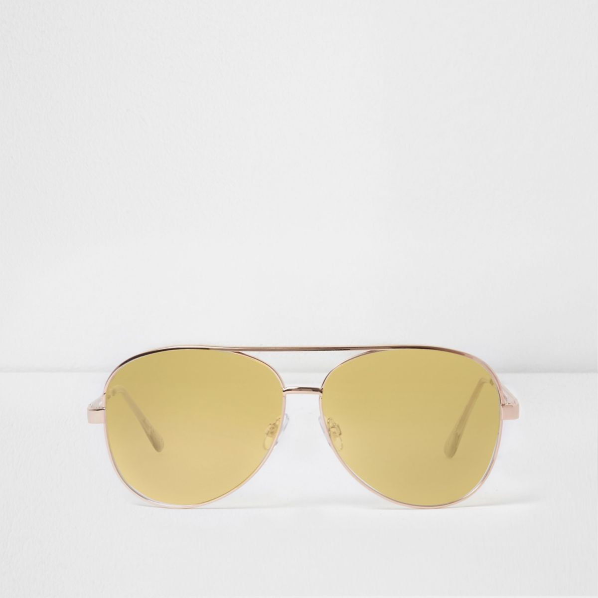 Gold tone clear lilac lenses aviator glasses