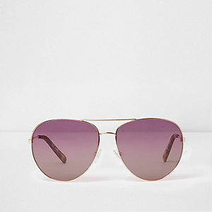 Rose gold tone pink lenses aviator sunglasses
