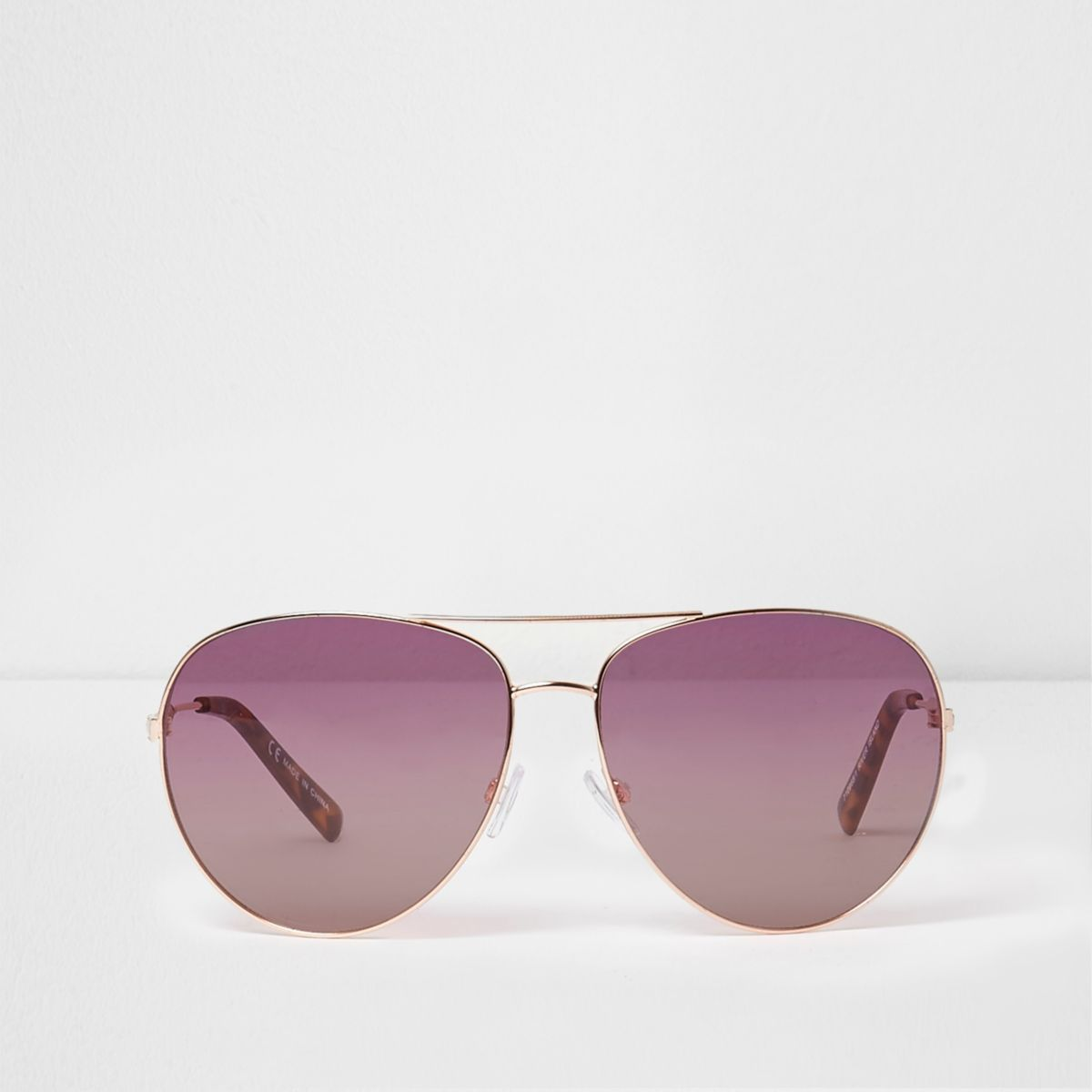 Rose gold tone pink lenses aviator sunglasses