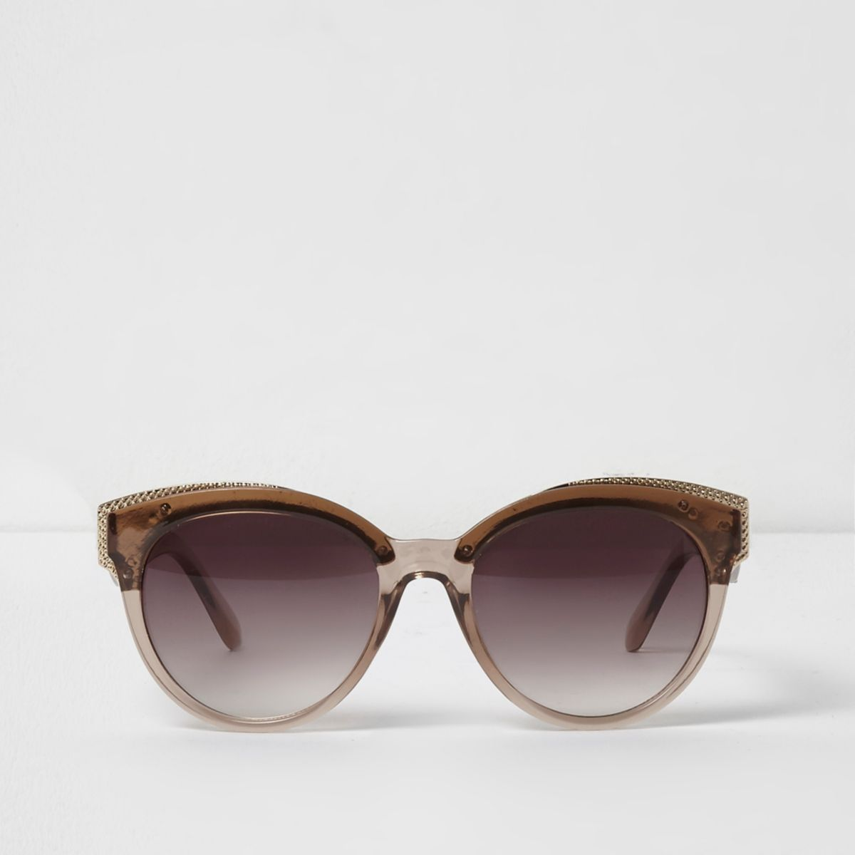 Beige clear gold tone cat eye sunglasses