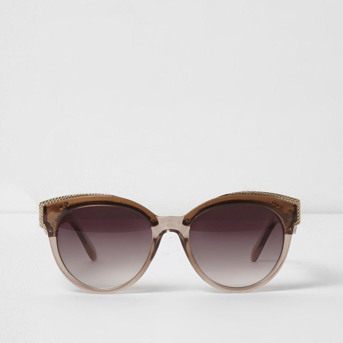 Beige clear gold tone cat eye sunglasses