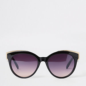 Black and gold tone cat eye sunglasses