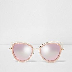 Cateye-Sonnenbrille in Pink und Gold