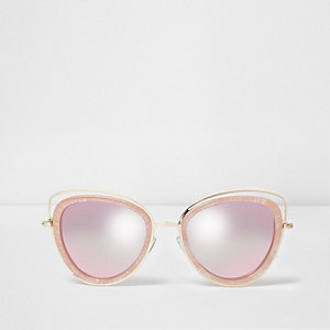 Pink and gold tone cat eye sunglasses