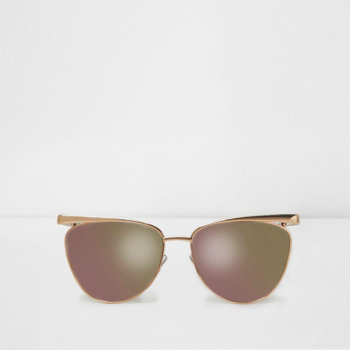 Lunettes de soleil yeux de chat dorées à verres roses effet miroir