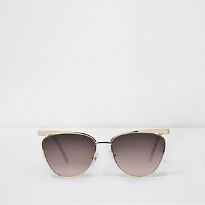 Gold tone cat eye ocean lens sunglasses