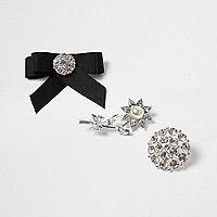 Silver tone embellished brooch set