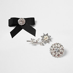 Silver tone embellished brooch set