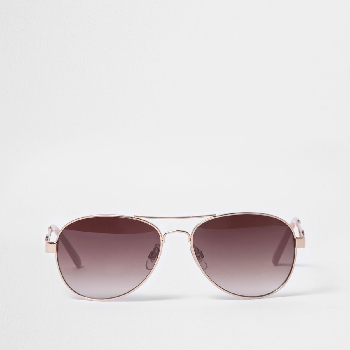 Rose gold tone aviator sunglasses