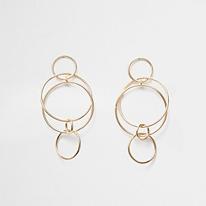 Gold tone interlinked hoop dangle earrings