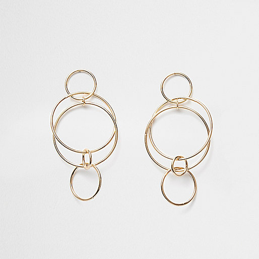 Gold tone interlinked hoop dangle earrings