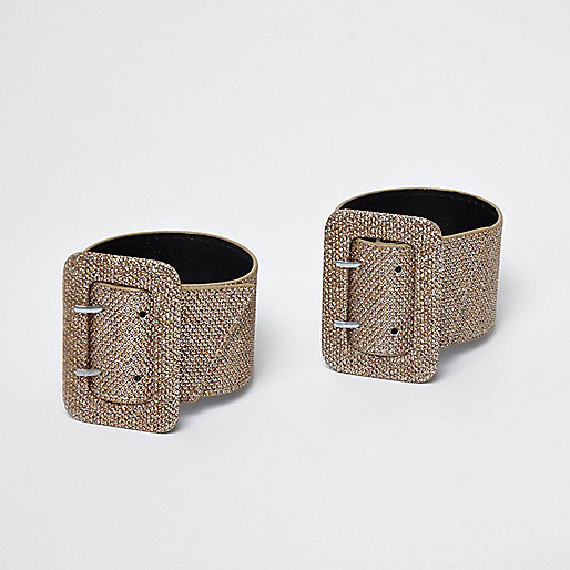 Gold glitter buckle ankle straps