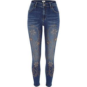 Mid blue Amelie studded super skinny jeans