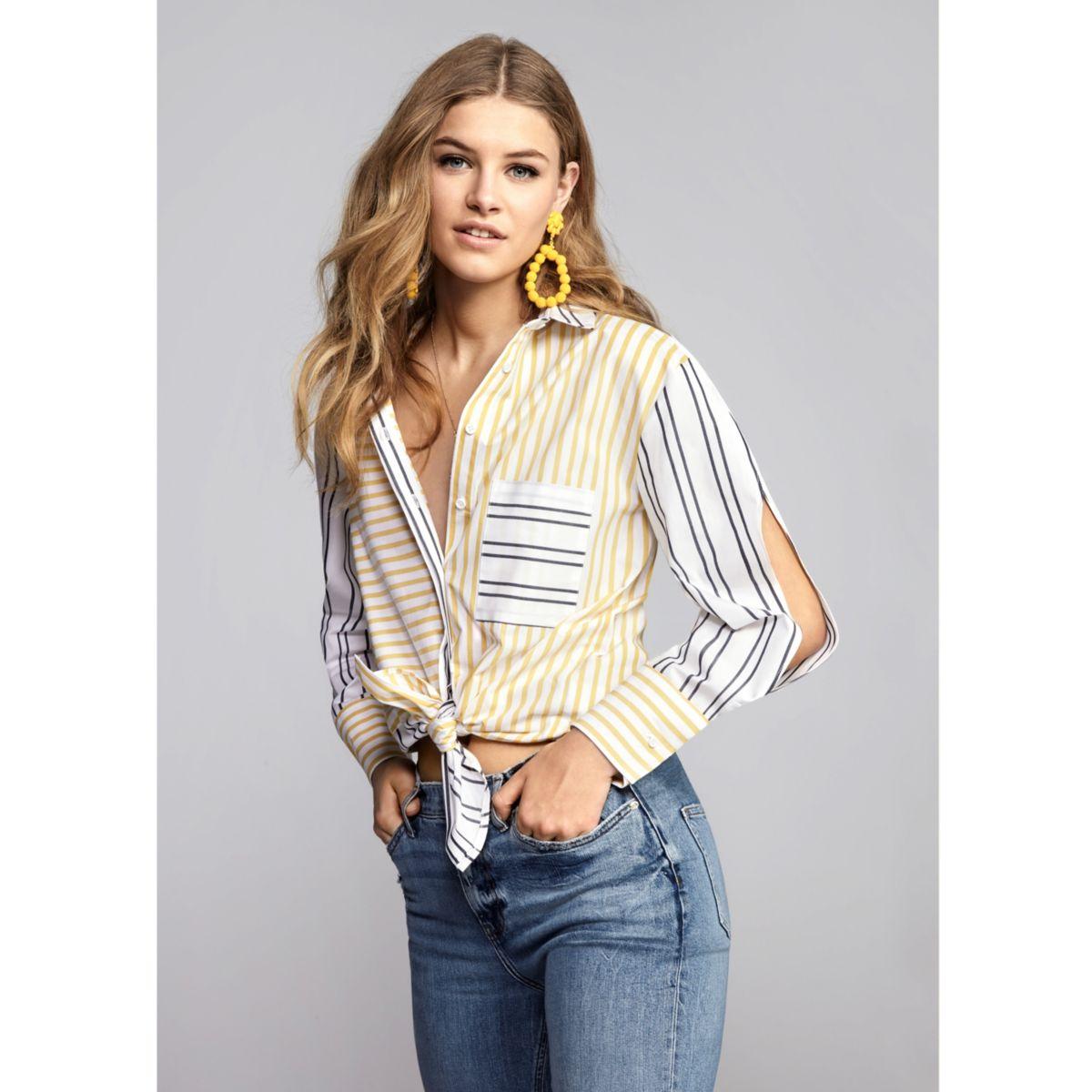 Yellow block stripe split long sleeve shirt