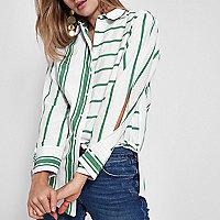 Green stripe print split sleeve shirt