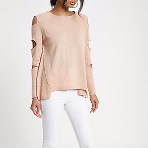 Beige slashed sleeve ladder back knitted top