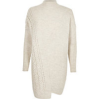 Cream turtle neck cable knit jumper dress
