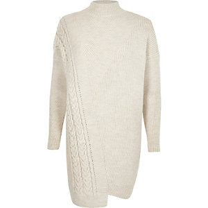 Cream turtle neck cable knit sweater dress