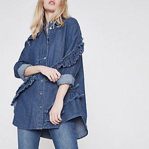 Chemise en jean bleue à volants