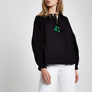 Black broderie sleeve tassel long sleeve top