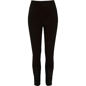 Black lace hem embellished leggings
