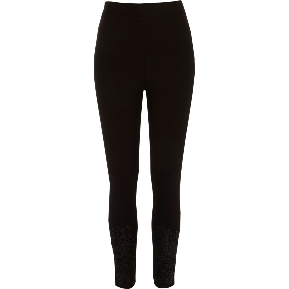 Black lace hem embellished leggings
