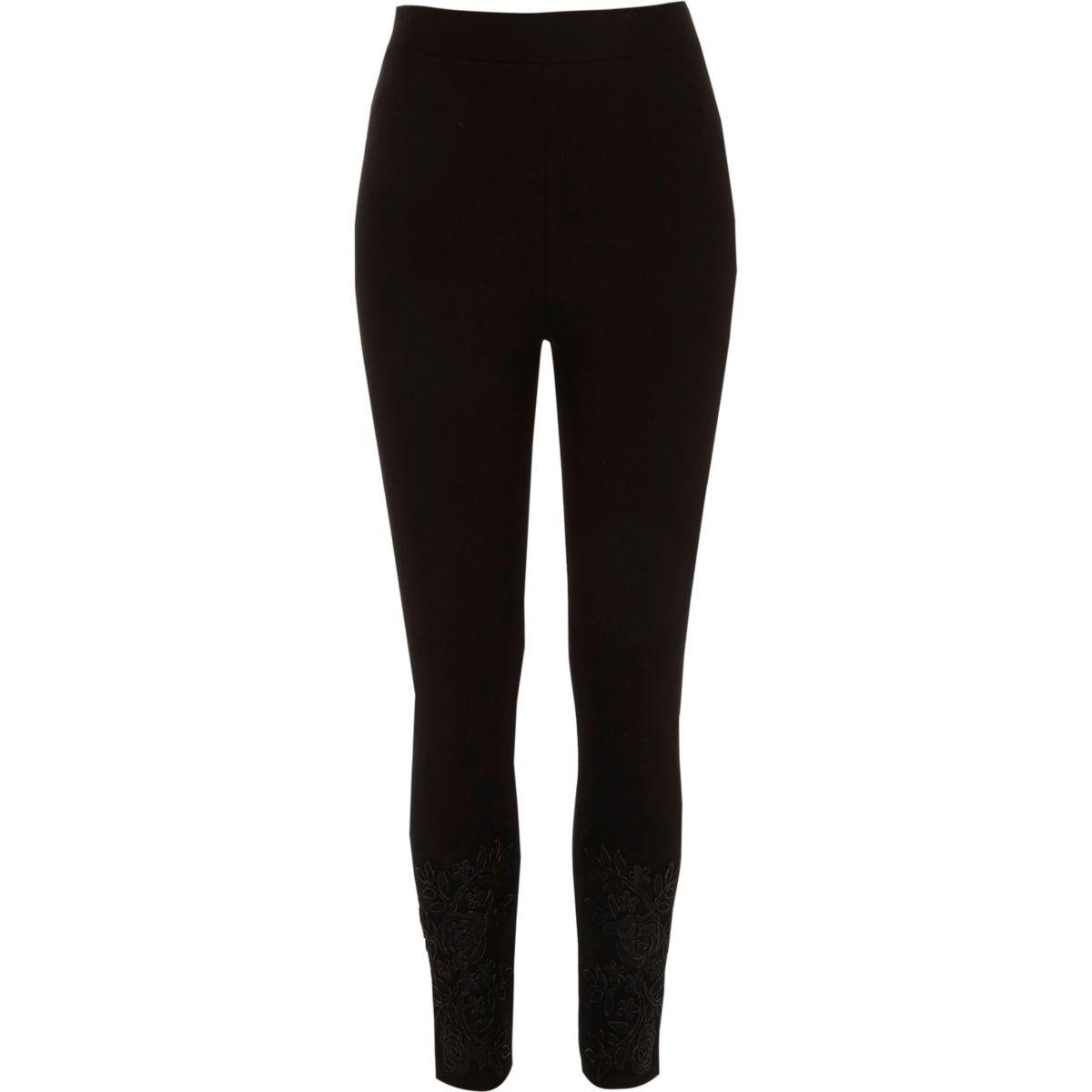 Zwarte verfraaide legging met kanten zoom
