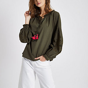 Khaki green cutwork smock top